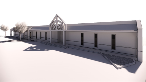 Vector image of the front of the library